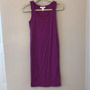 Purple and blue striped maternity dress